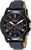 Fossil Grant Chronograph Men's Bicolor Dial Leather Band Watch - FS5061P