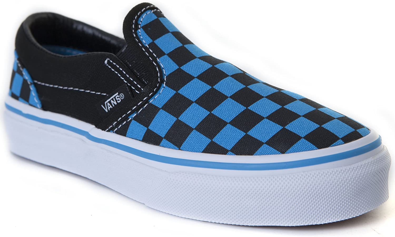 blue and black slip on vans