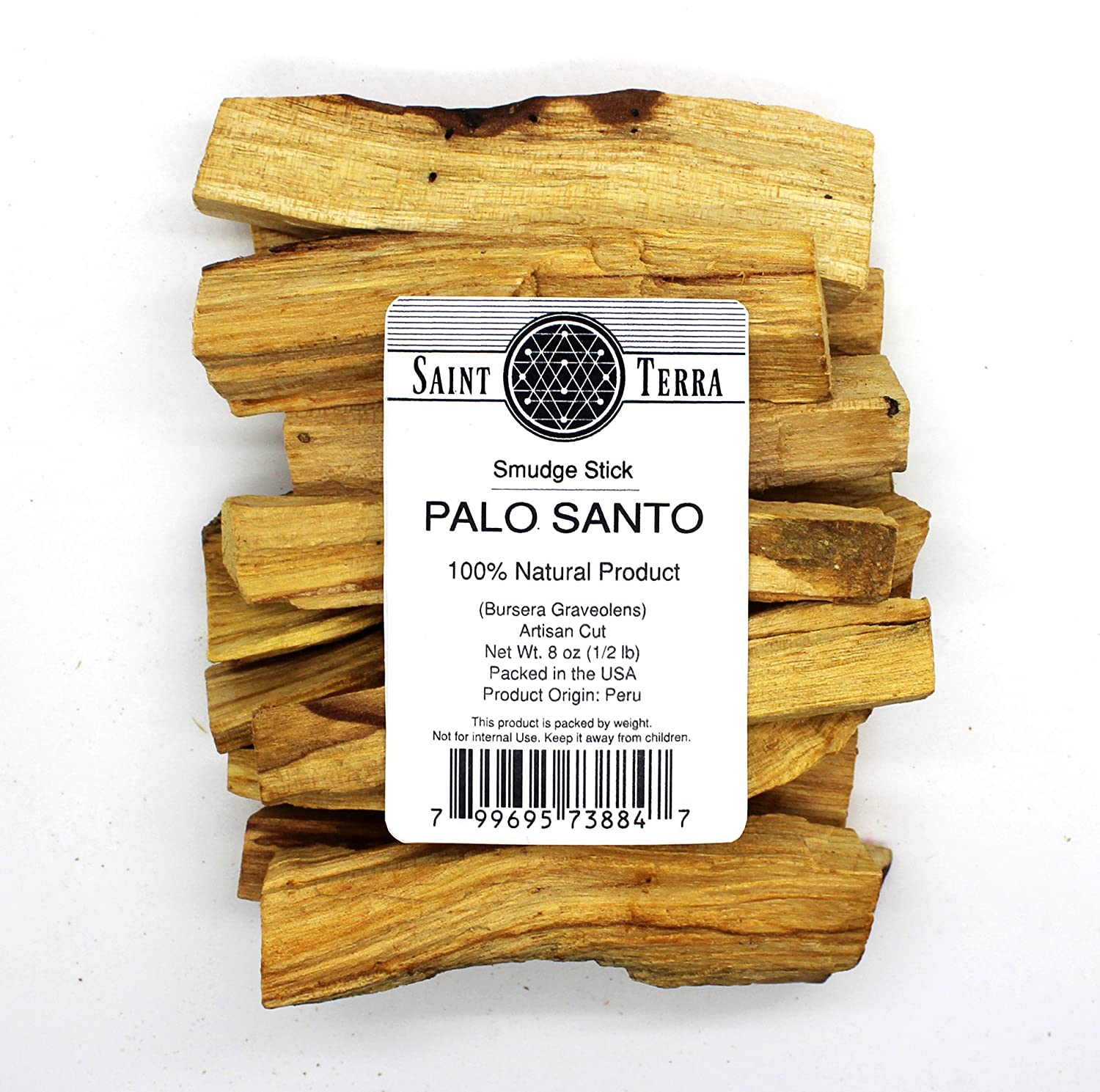 Saint Terra - Premium Palo Santo (Holy Wood) 8 oz Pack Artisan Cut Smudge Stick - 100% Natural