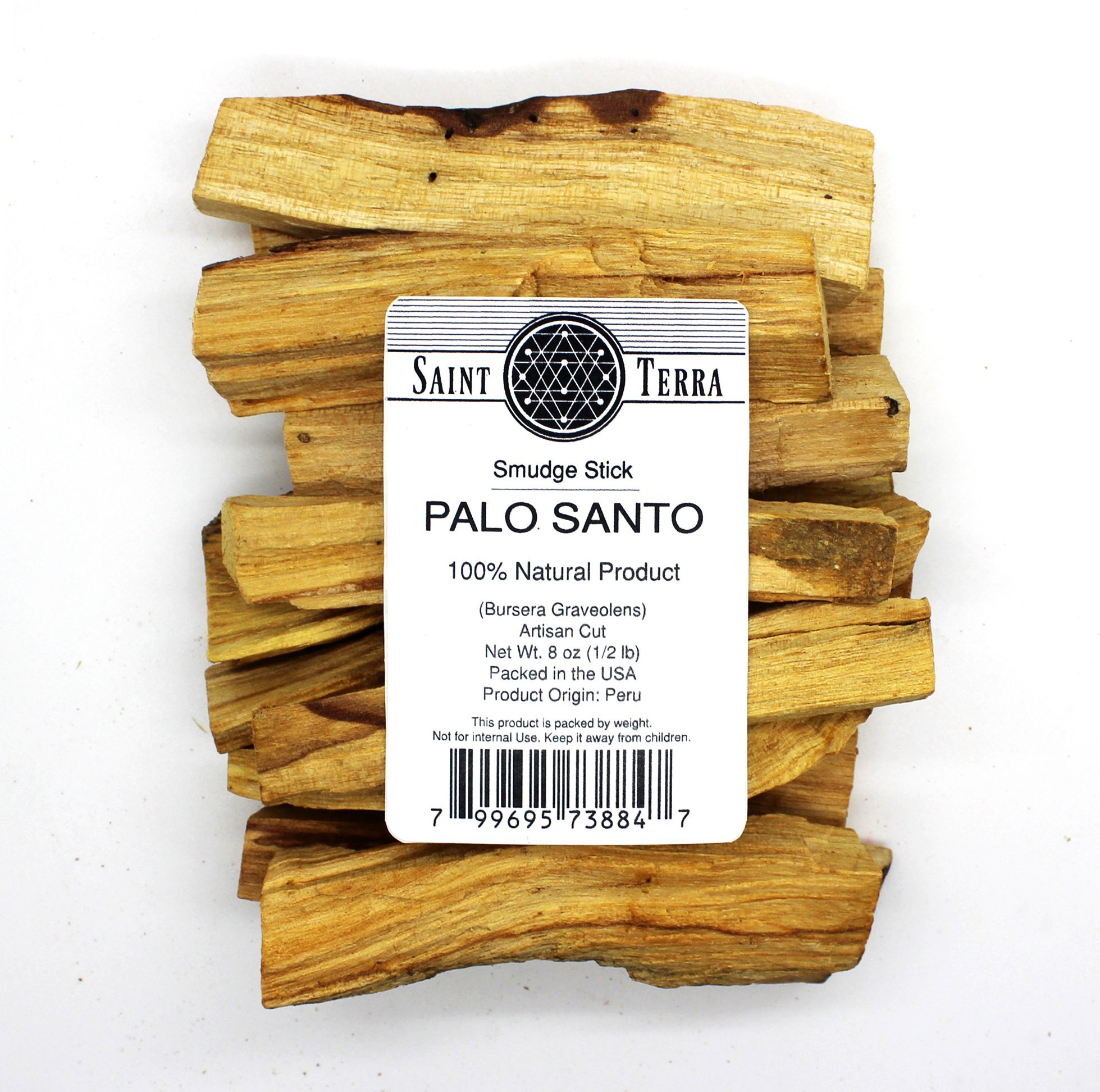 Saint Terra - Premium Palo Santo (Holy Wood) 8 oz Pack Artisan Cut Smudge Stick - 100% Natural by Saint Terra (Image #1)
