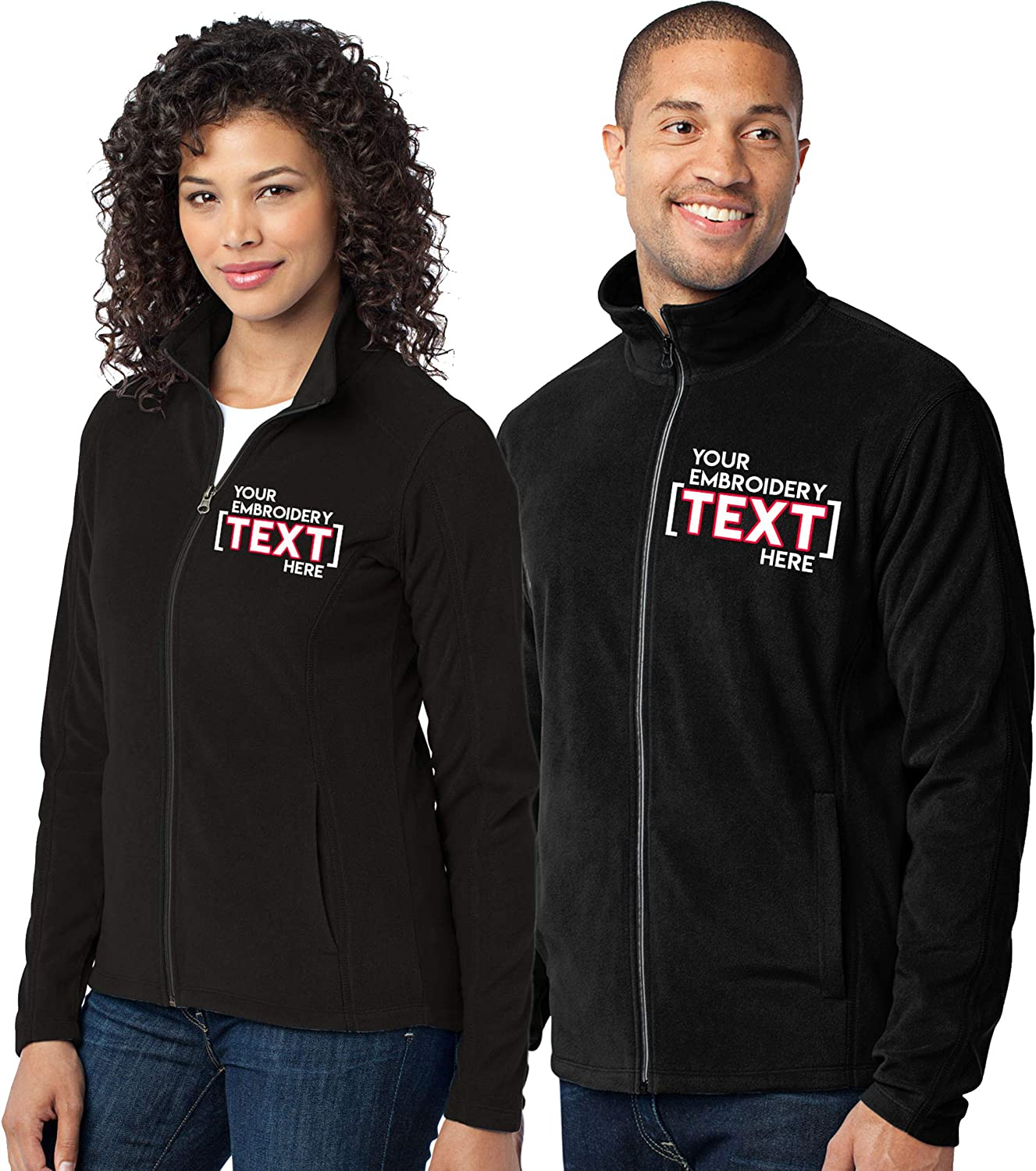 Custom Embroidered Lightweight Jacket for Women & Men - Add Your Text - Embroidery Zip Up Fleece Outerwear