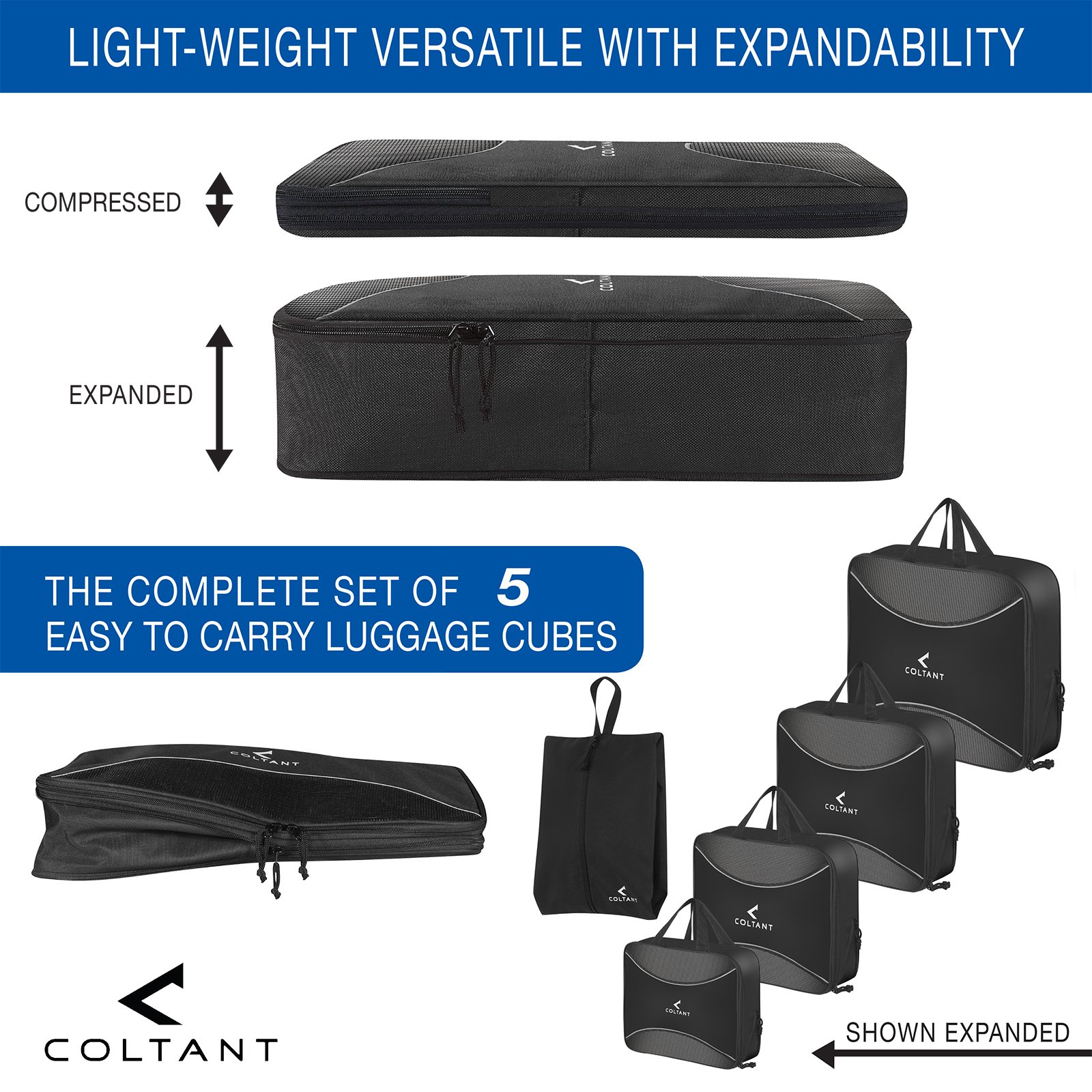 4 Set Compression Packing Cubes + Free Shoe Bag for Travel and luggage organizer by Coltant (Image #2)