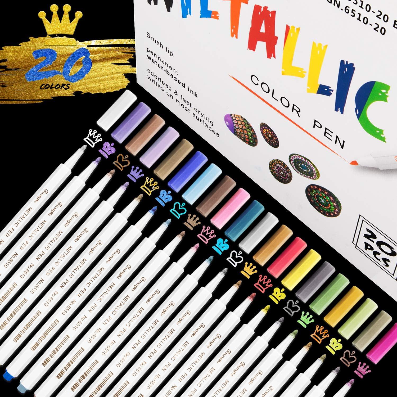 Rotuladores Metálicos,RATEL 20 colores brillantes Marcador Metálico para manualidades de bricolaje, pintura rupestre, álbum de fotos de bricolaje Rotuladores Metalizados para cerámica