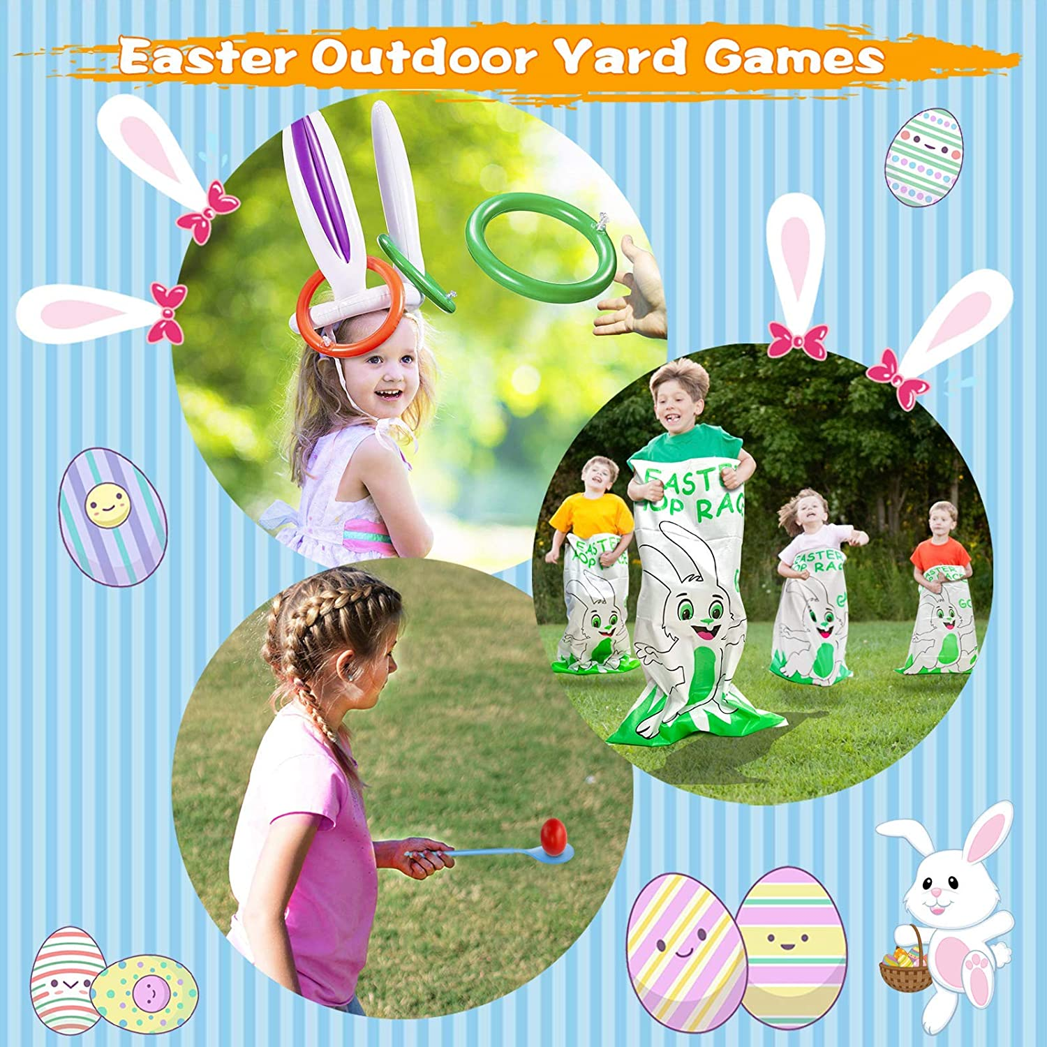 TURNMEON 11 Pack Easter Outdoor Party Games for Family, 4 Bunny Potato Sack Race Bags, 4 Egg and Spoon Race Game,2 Legged Relay Race Bands,1 Bunny Ears Ring Toss Game - Carnival Games Easter Eggs Hunt