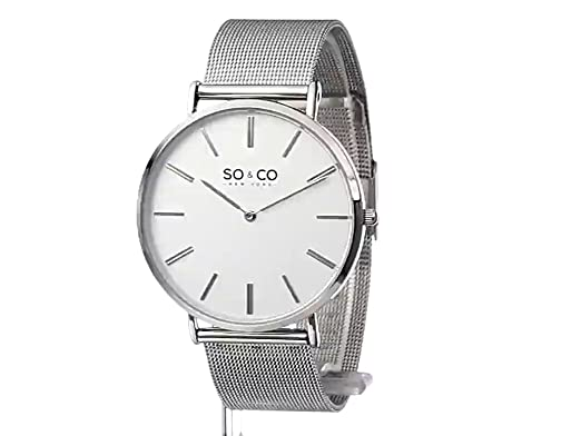 Amazon.com: SO&CO New York Mens 5102.2 Madison Stainless Steel Mesh Bracelet Watch: Watches