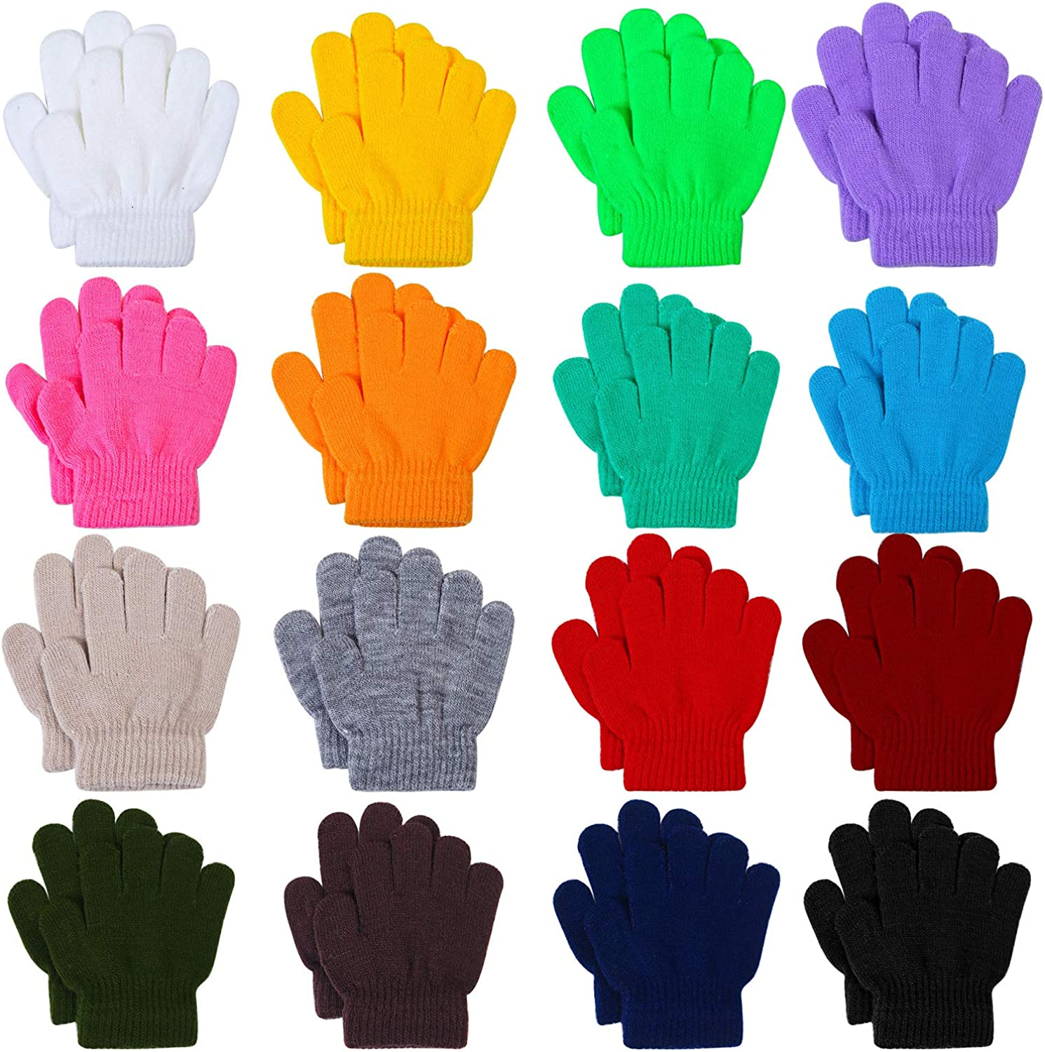 Cooraby 4 Pairs Children Thick Gloves Warm Knitted Gloves Buffalo Plaid Gloves Cold Weather Gloves for Boys and Girls