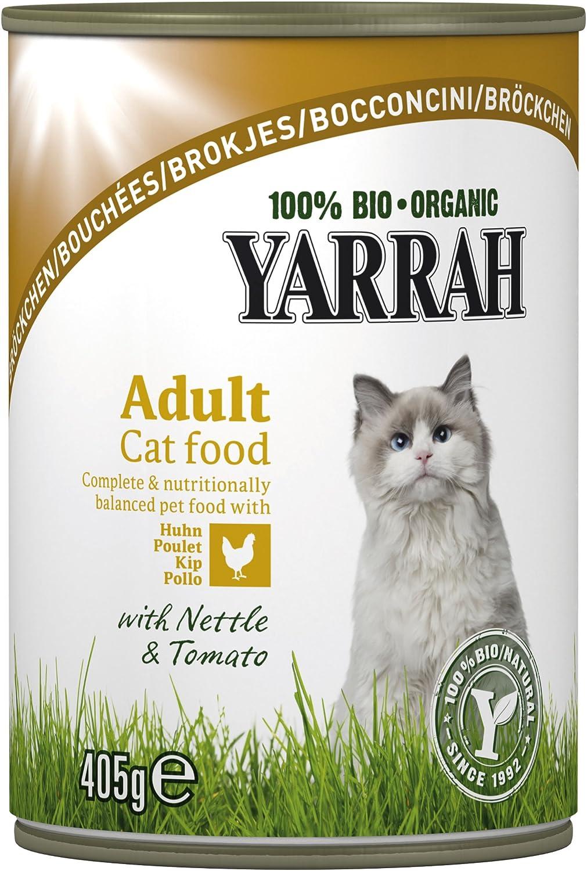 Yarrah Bröckchen - Pollo, 405 g, alimento para gatos, 6 unidades ...
