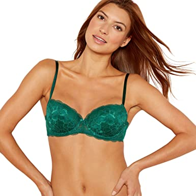 ac3cad43a5 The Collection 2 Pack Green and Black Underwired Padded Lace Balcony Bras  30B