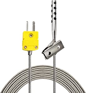 PerfectPrime TL3163K K-Type Thermocouple Temperature Sensor Probes 316L stainless steel 752°F, Open Hole Clip for Air Temperature