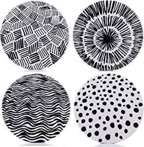 Absorbent Coasters for Drinks - Painted Coasters, Grey Lines On Large Ceramic Stone with Cork Backing, Drink Spills Thirsty Coaster Set of 4 No Holder, Oversize Better Protects Furniture from Damage