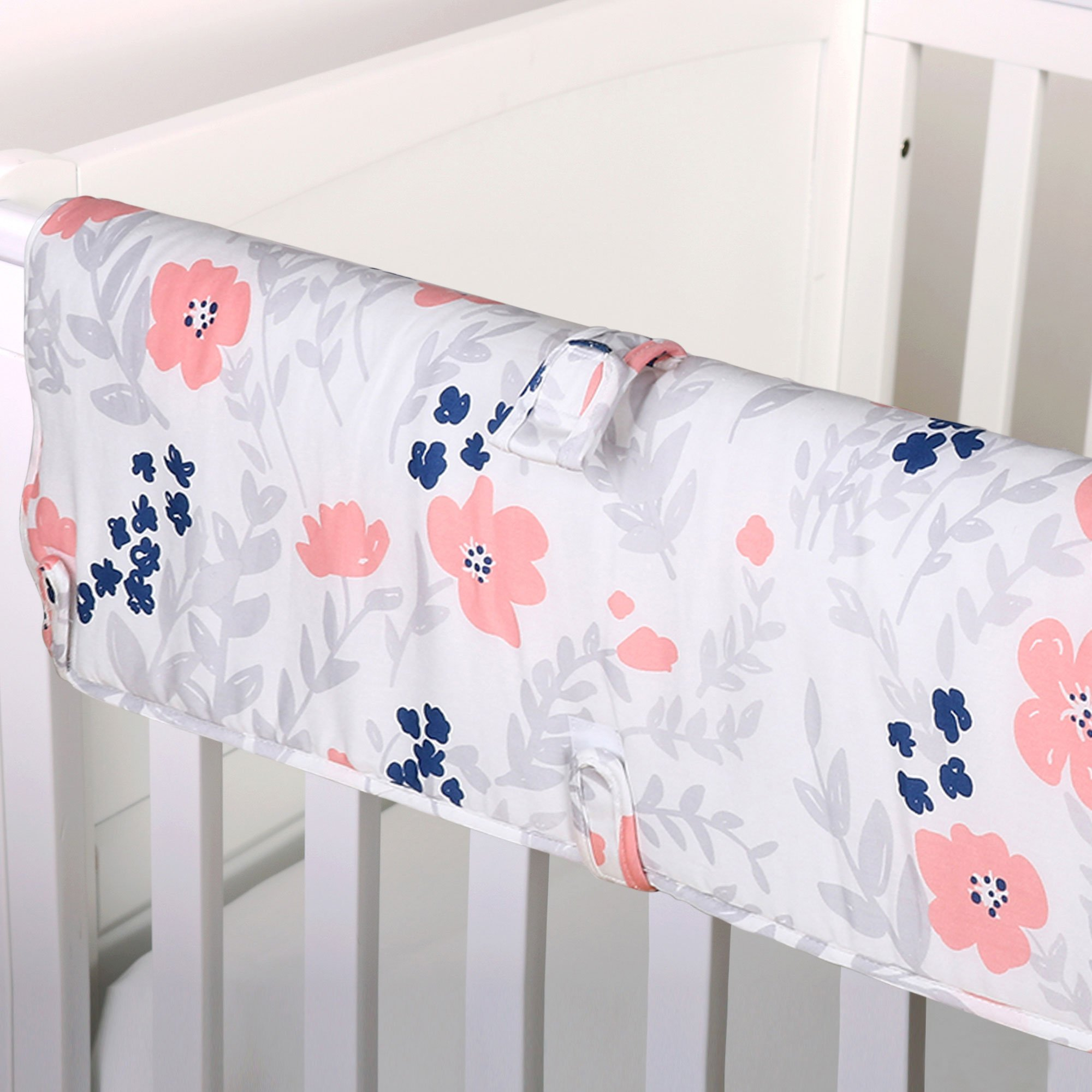 Coral Pink and Navy Blue Floral Print Padded Crib Rail Guard by The Peanut Shell by The Peanut Shell