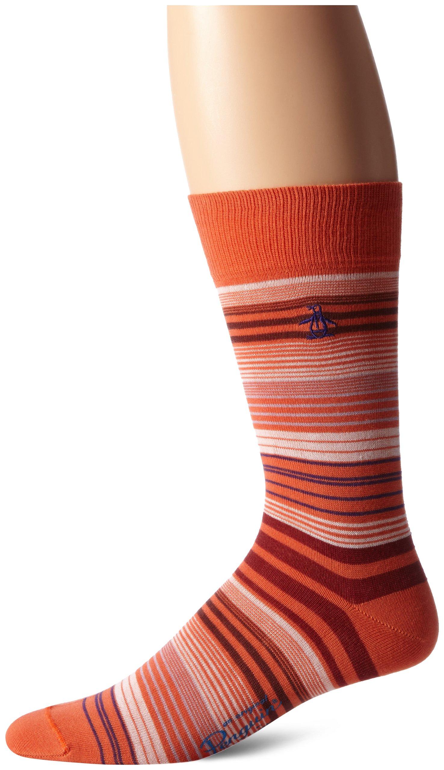 Original Penguin Men's Fine Stripe, Orange, Sock Size:10-13/Shoe Size: 6-12