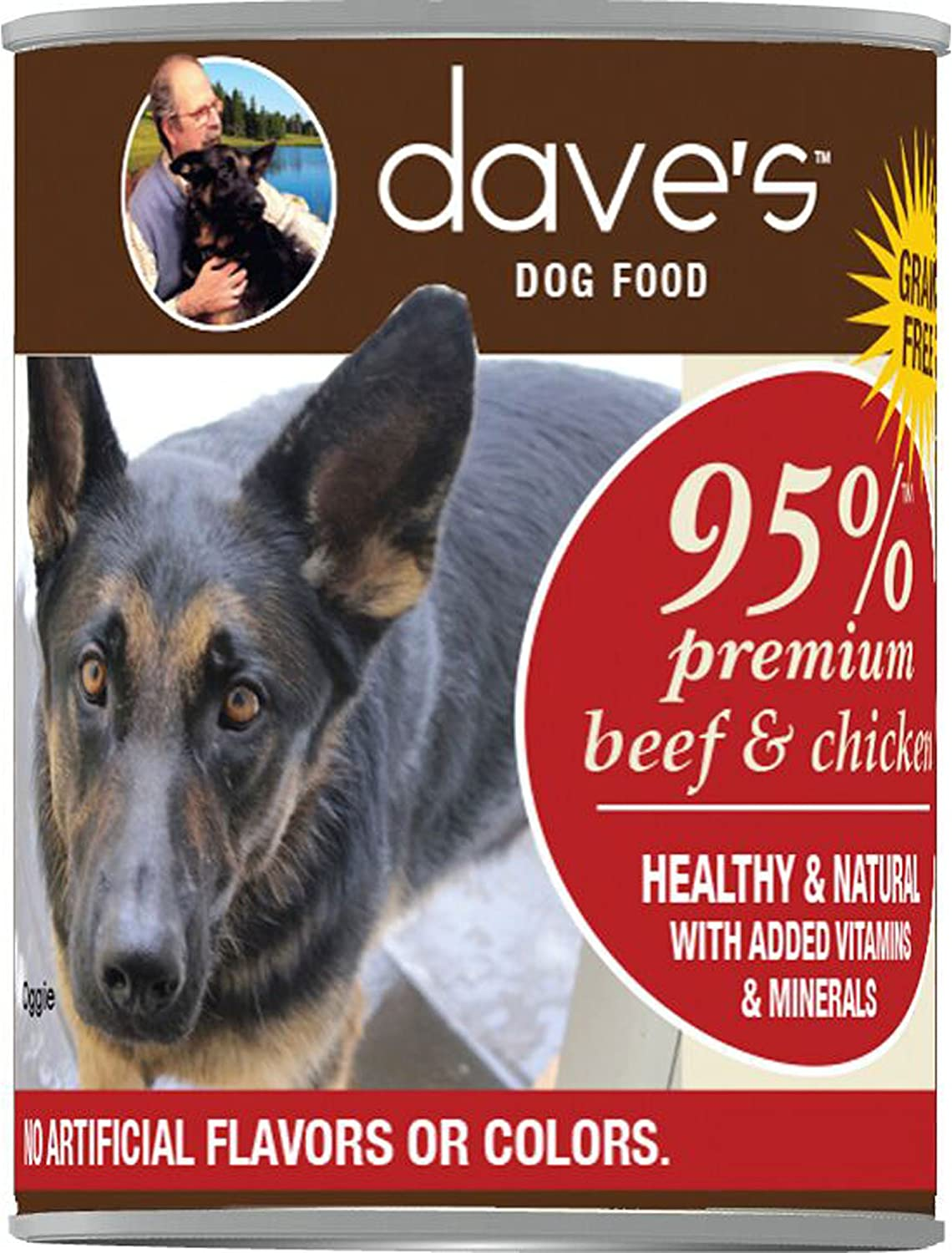 Dave'S 95% Premium Meats Beef And Chicken Meat Dog Food (12 Cans Per Case), 13.2 Oz.