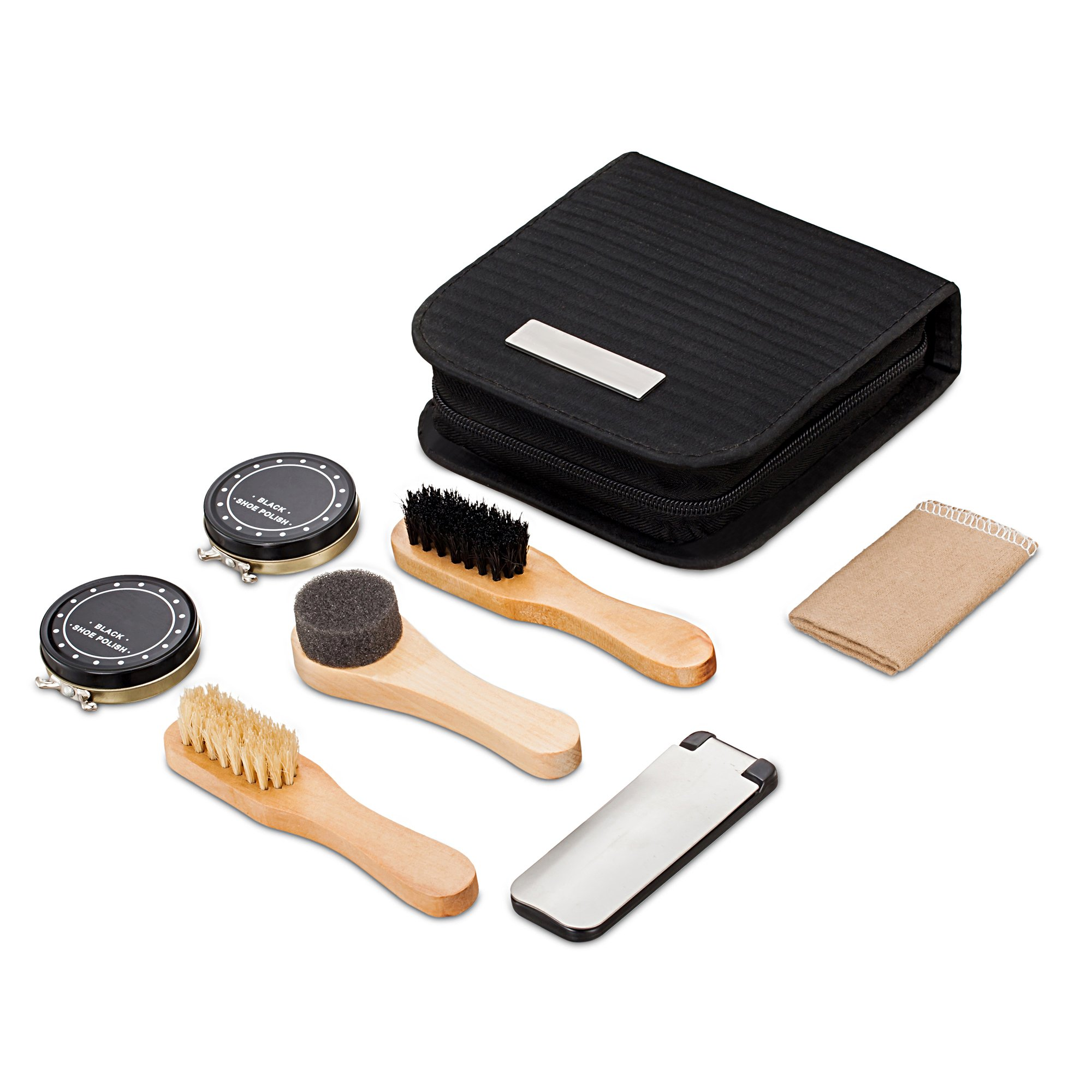 chuanyuekeji Shoe Shine Kit & Shoe Care Valet with PU Leather Sleek Elegant Case, 7-Piece Travel Shoe Shine Brush kit (Black)
