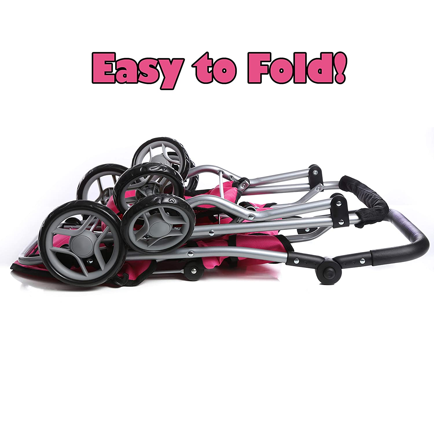 Basket Adjustable Handle 9668 /& Free Carriage Bag Mommy /& Me TWIN Doll Pram Back to Back Foldable Doll Stroller with Swiveling Wheels