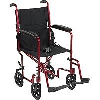 "Lightweight Transport Wheelchair, 19"" Seat, Red"