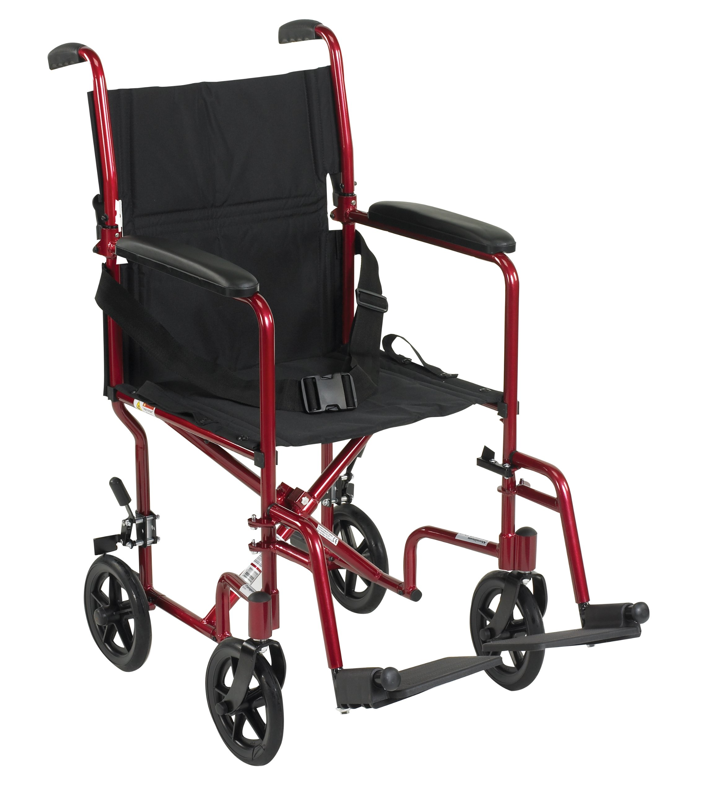 Drive Medical Aluminum Transport Chair, 19'', Red by Drive Medical