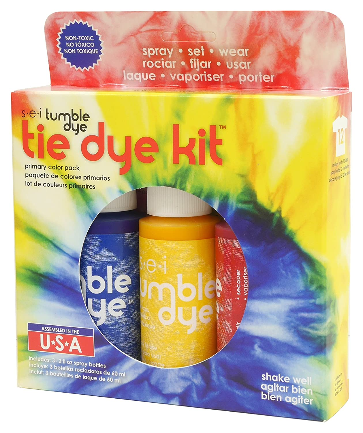 Amazon.com: SEI Tie Dye Tumble-Dye, Primary Kit with Idea Book, 3 Pack