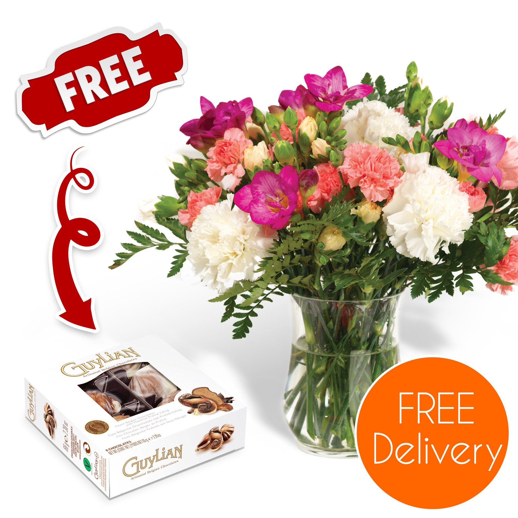 Flower delivery amazon fresh flowers delivered free uk delivery pastel carnations and freesias bouquet with free chocolates izmirmasajfo