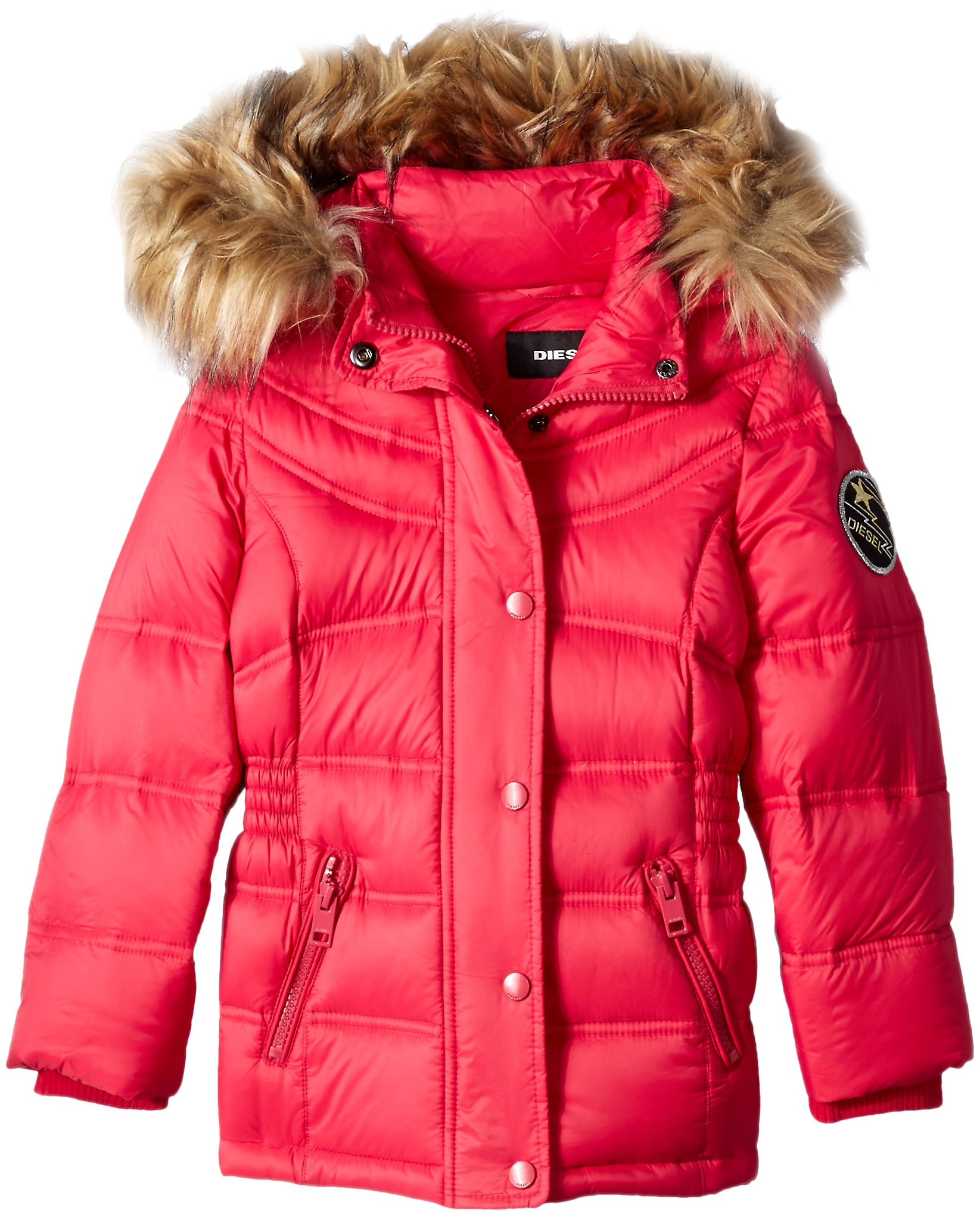 Diesel Toddler Girls' Outerwear Jacket (More Styles Available), Down Bubble-DS90H-Cherry, 4T