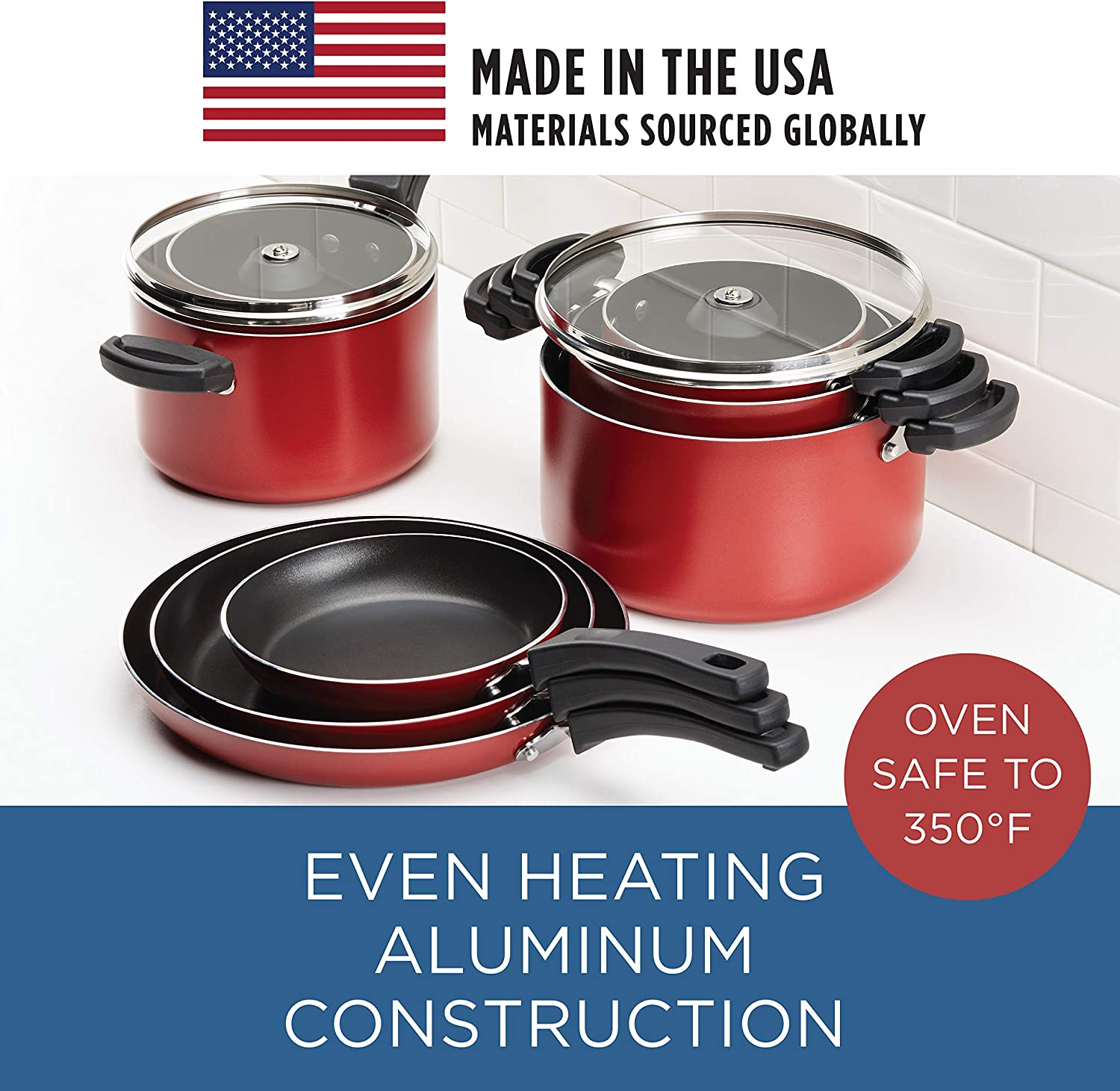 Farberware Neat Nest Space Saving Nonstick Saucepots Pots And Pans Set Dishwasher Safe Made In The Usa 4 Piece Red Amazon Co Uk Kitchen Home