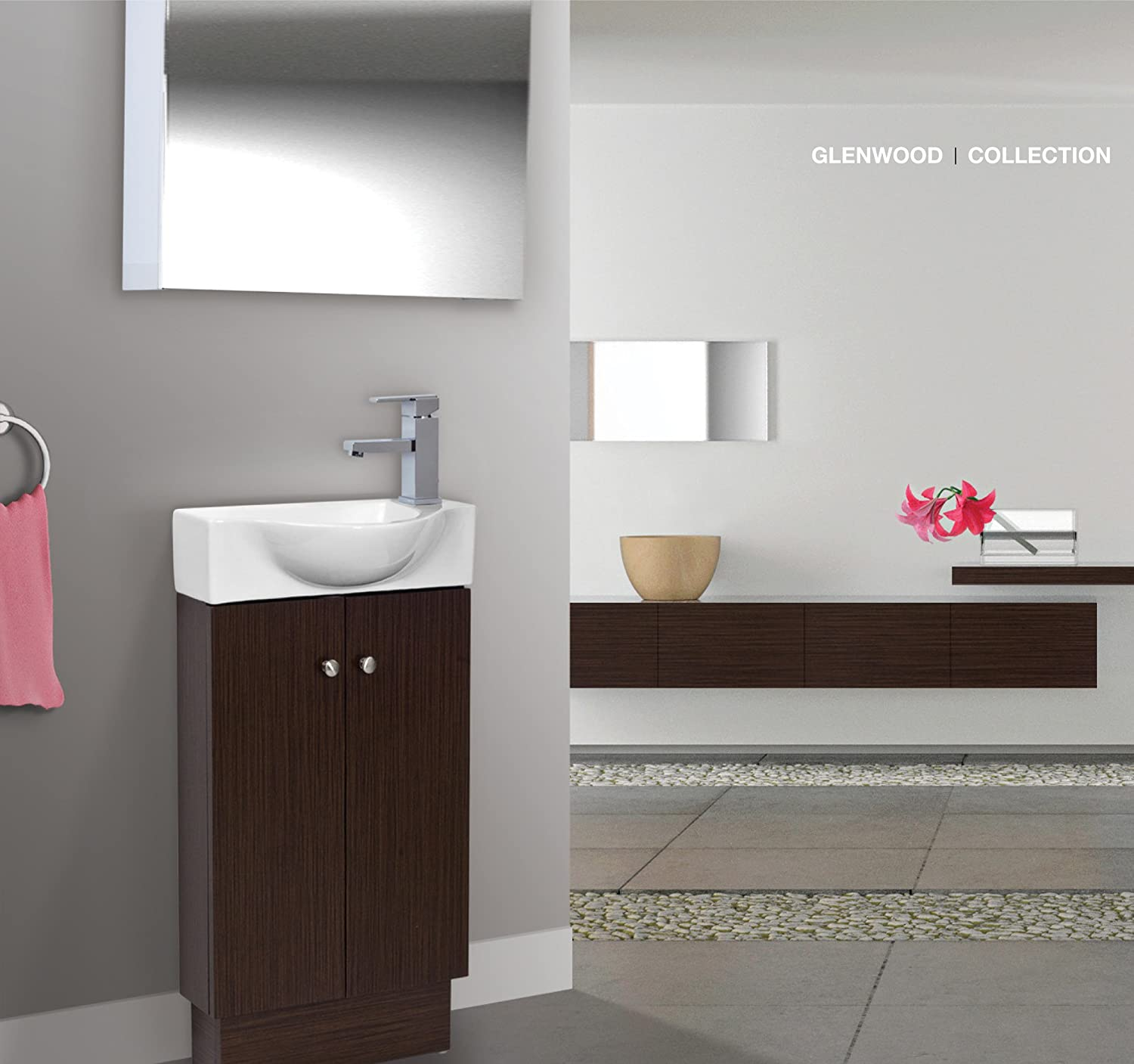 amazoncom bathroom vanity set cabinet and sink glenwood wenge home u0026 kitchen