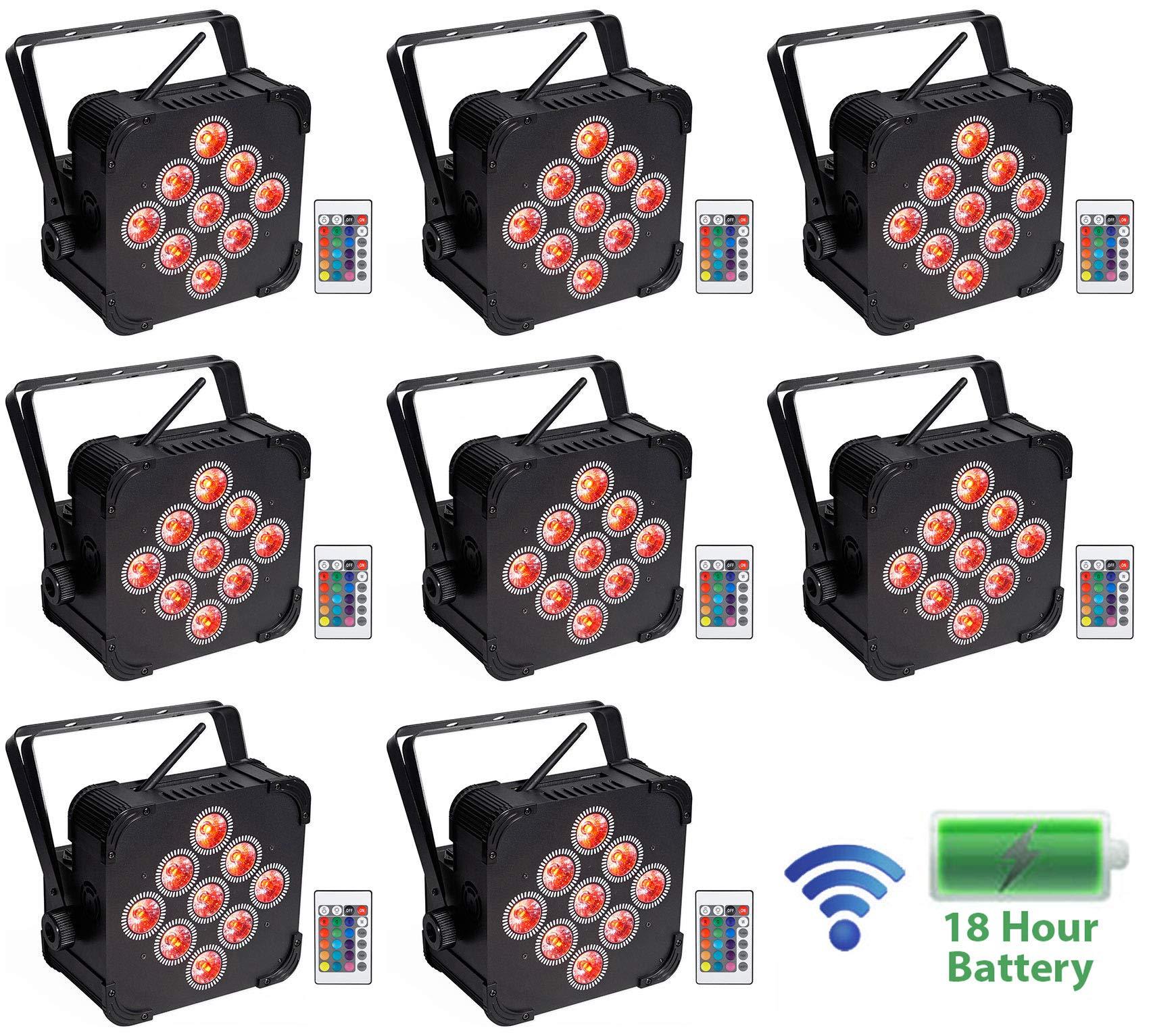 8) Rockville BEST PAR 60 Rechargeable Par Can Wash Lights wWireless DMX+RGBWA+UV by Rockville