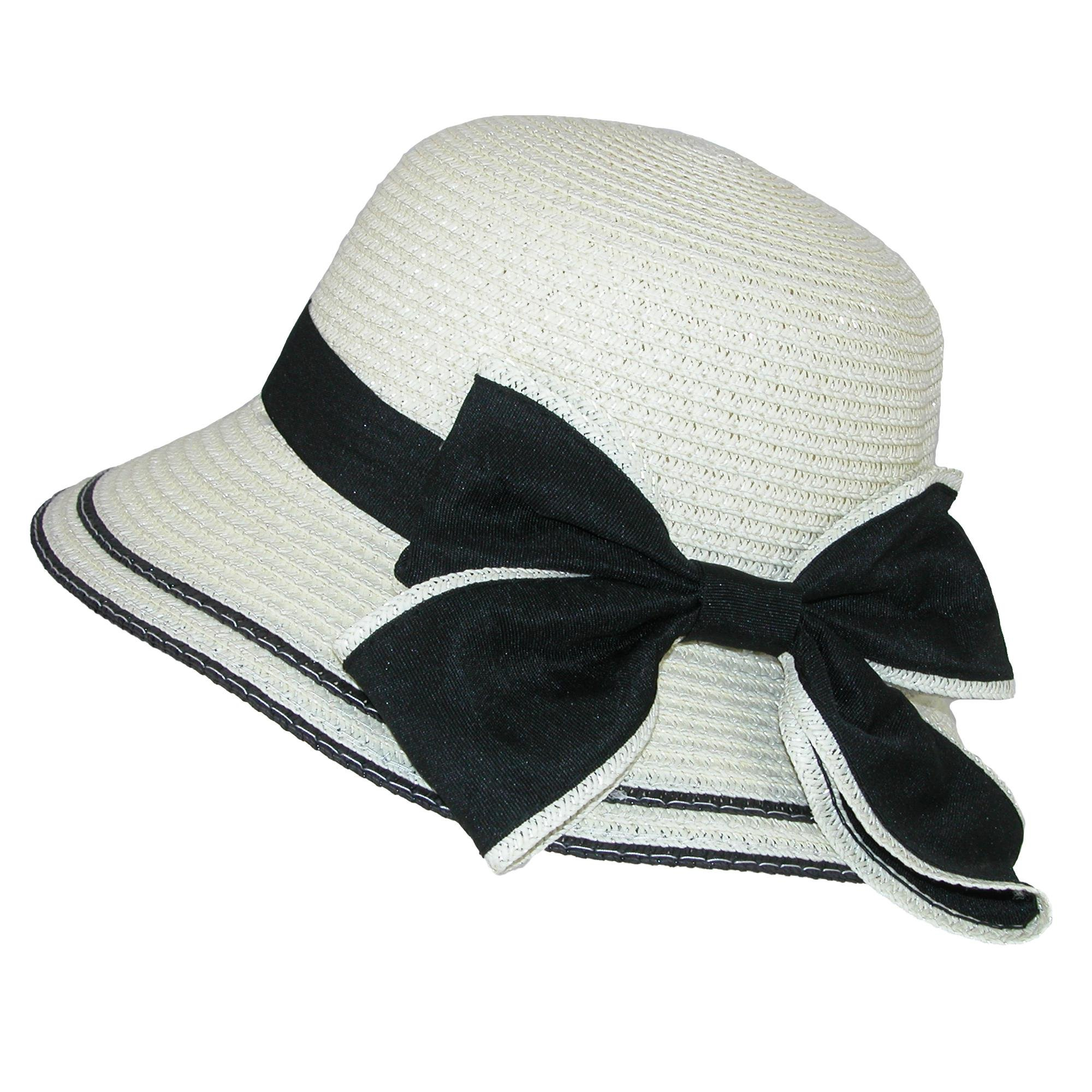 Jeanne Simmons Girls' Easter Straw Cloche with Back Ribbon Bow, Ivory