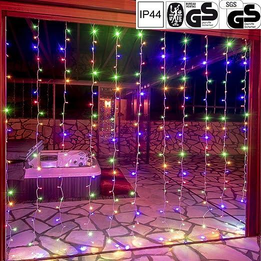 VOLTRONIC LED Lichtervorhang Lichterkette für innen und außen, erhältlich in: 3x3m (300LED) / 3x6m (600LED), warmweiß/kaltwei