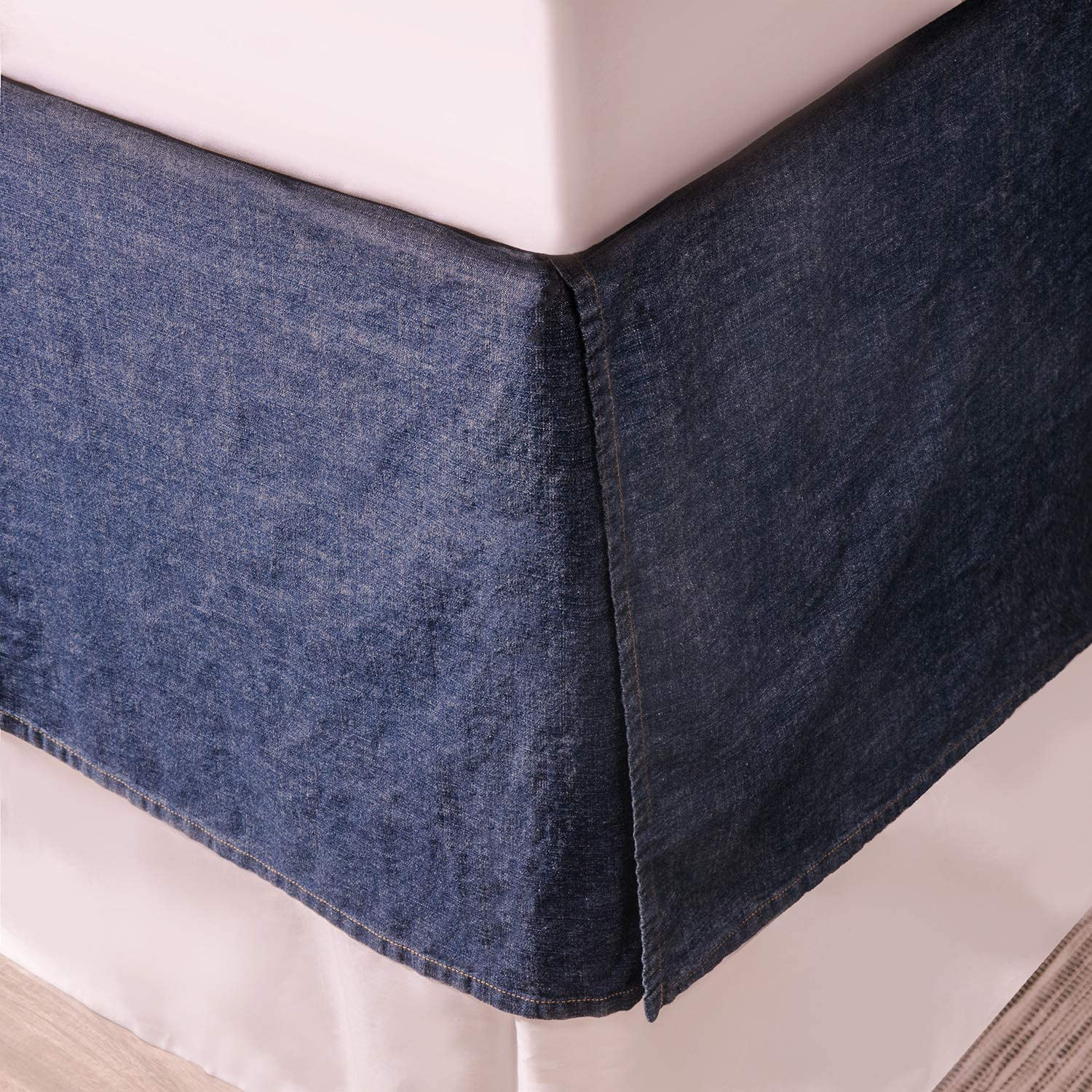 ELEGANT LIFE HOME Cotton Yarn Dyed Washed Denim Bed Skirt/Dust Ruffle – 18 Inch Tailored Drop (Twin 54'' x 75'' + 18'' Dark Blue 1PC)
