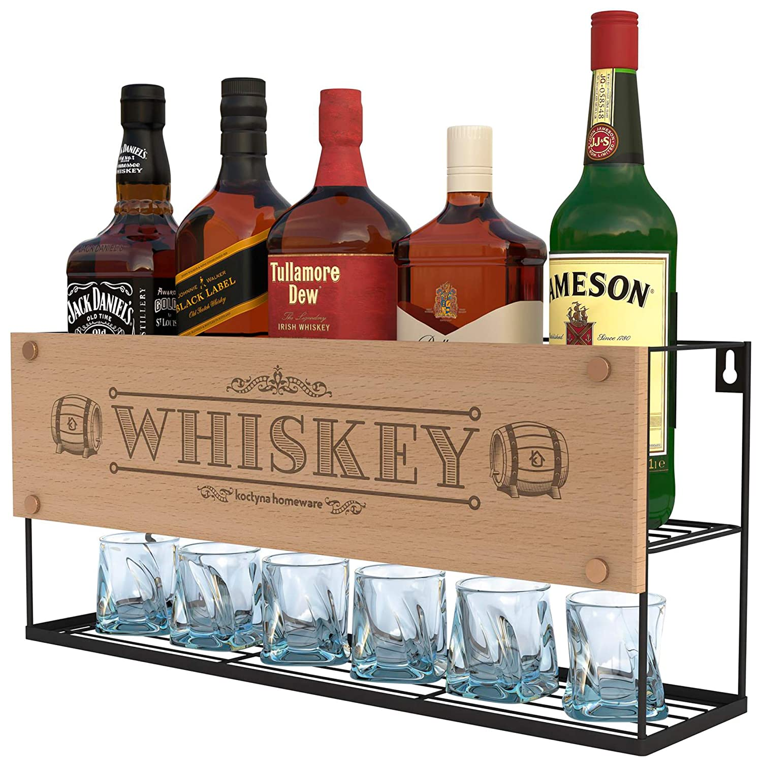 Wall Mounted Whiskey Racks | Bottle & Glass Holder | Whiskey Short Storage | Store Whiskey, Brandy, Сognac | Oak Whiskey Barrel Design | Whiskey Stones Holder | Home, Kitchen, Bar, Restorant Décor Restorant Décor koctyna homeware