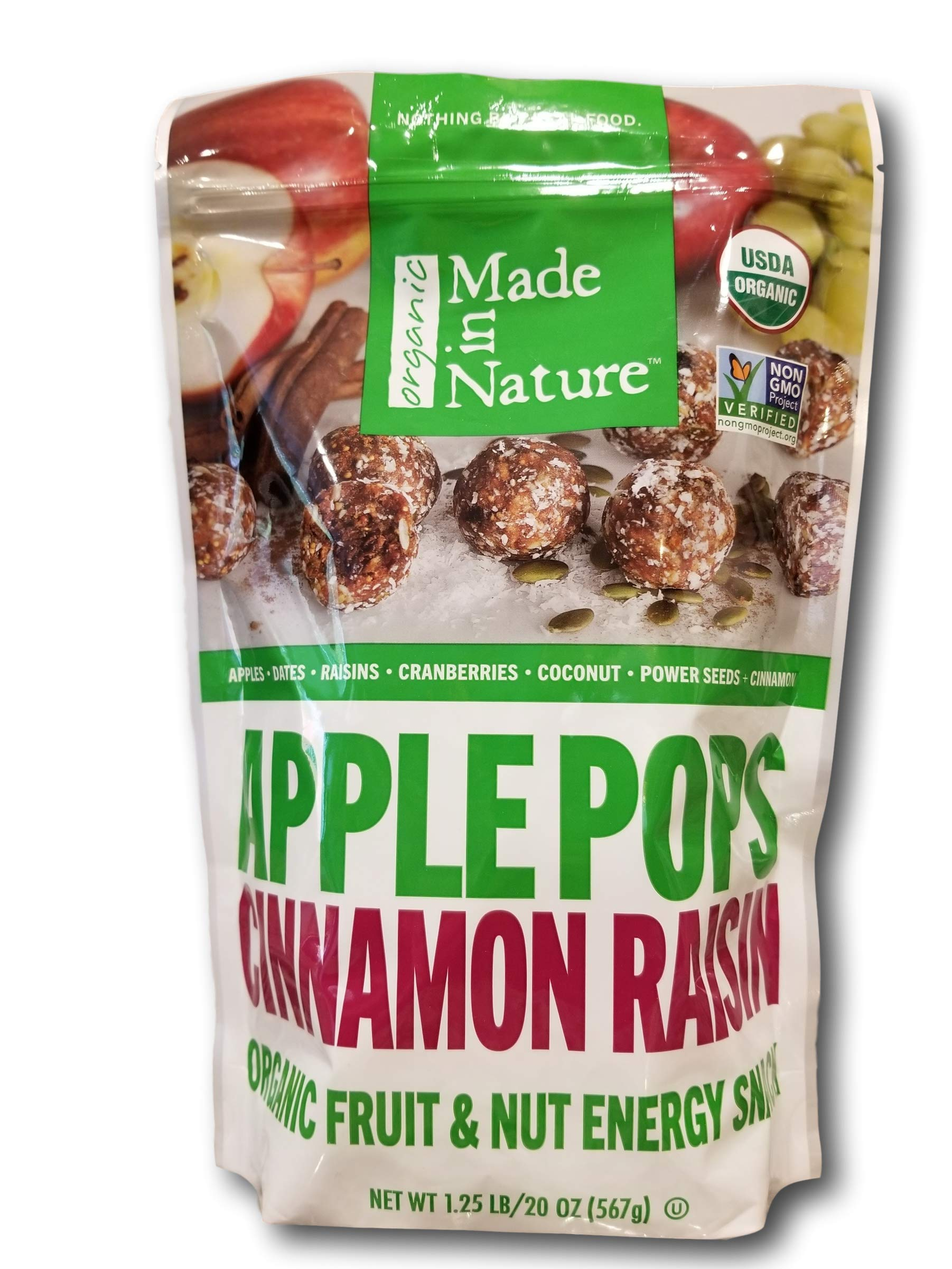 Organic Made in Nature Applepops with Cinnamon Raisins, Dates, Cranberries, Coconut, Seeds