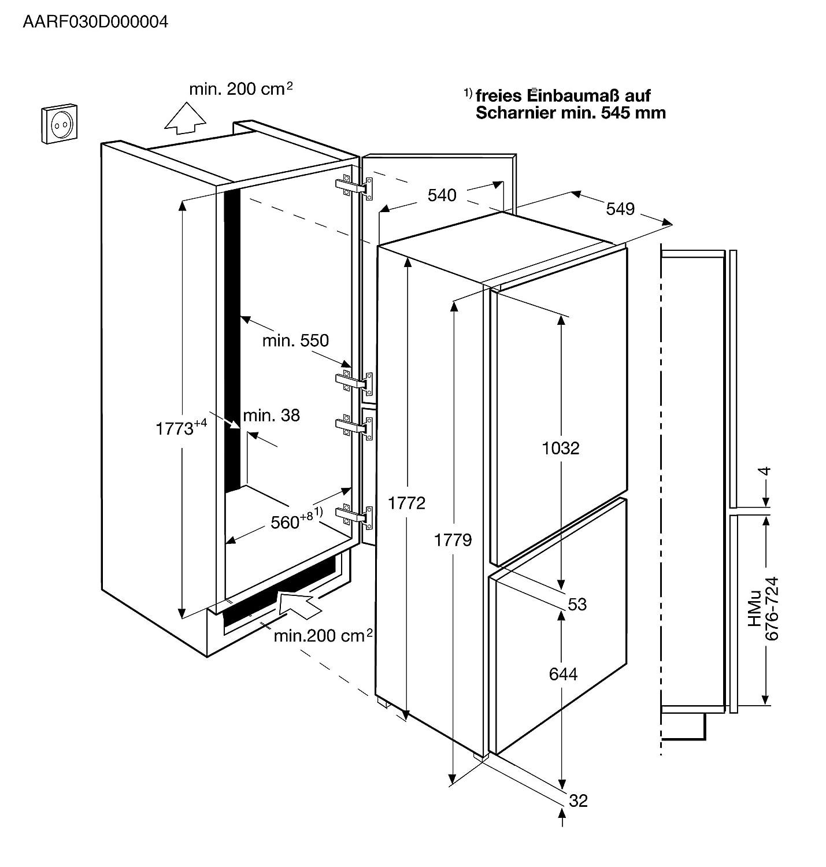 AEG SCB NS Kühl Gefrier Kombination Einbau mit NoFrost