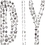 BIHRTC 120PCS Jewelry Making Silver Charms Mixed Smooth Alloy Metal Charms Pendants DIY Antique ABC Letter Charms Handmade Ac