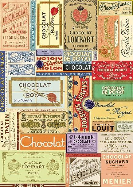 Amazon.com: Cavallini & Co. Chocolate etiqueta Collage ...