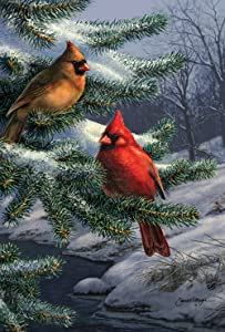 Toland Home Garden Two Cardinals 12.5 x 18 Inch Decorative Winter Bird Pine Tree Garden Flag
