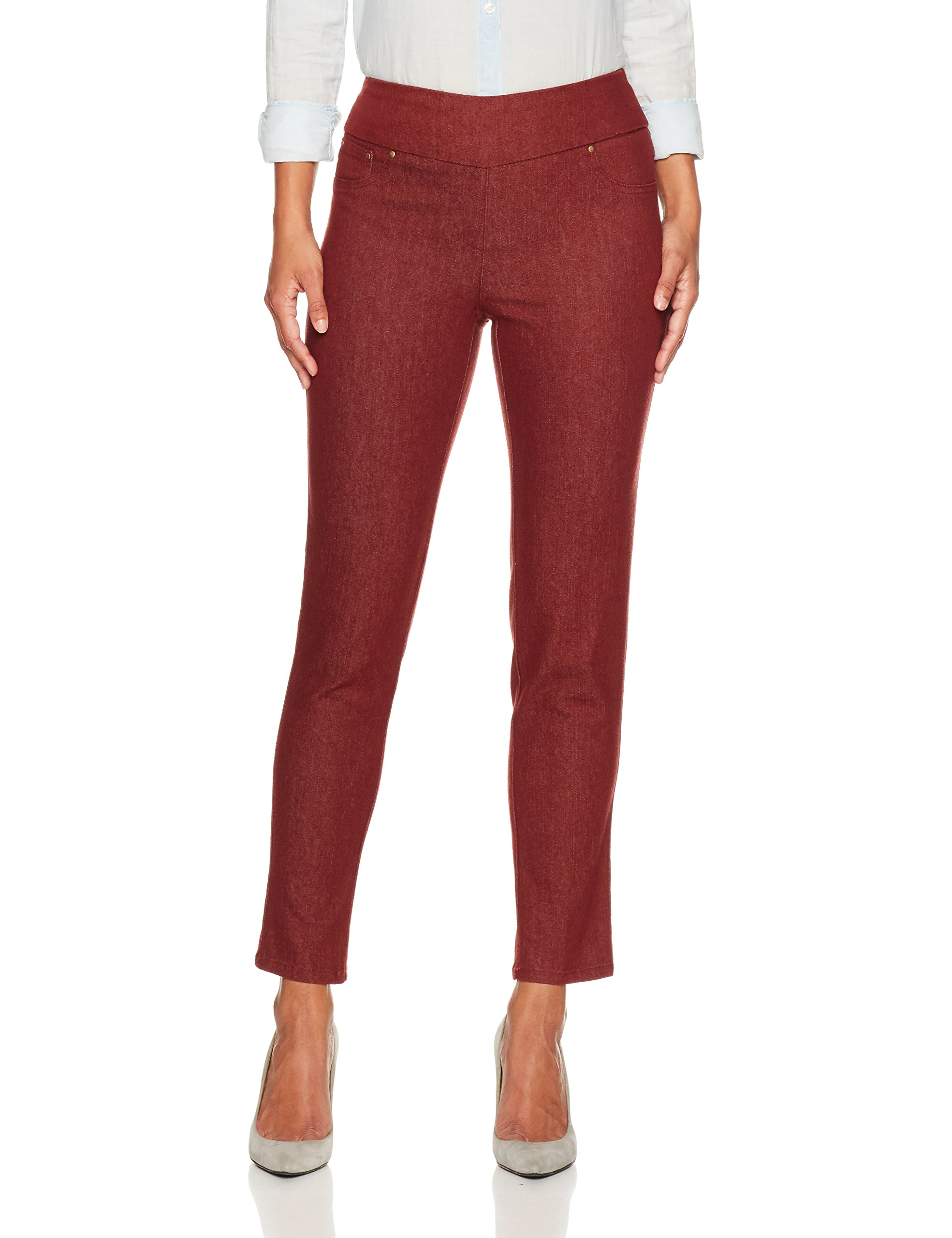 Ruby Rd. Women's Petite Pull-on Colored Extra Stretch Denim Pant, Burgundy, 12P