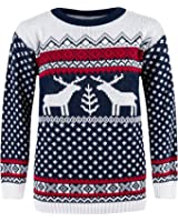 CostMad ZET Mens Womens Unisex Christmas Xmas Fairisle Reindeer Novelty Print Jumper Knitted Retro Vintage Crew Neck Sweater Pullover Classic Winter Top