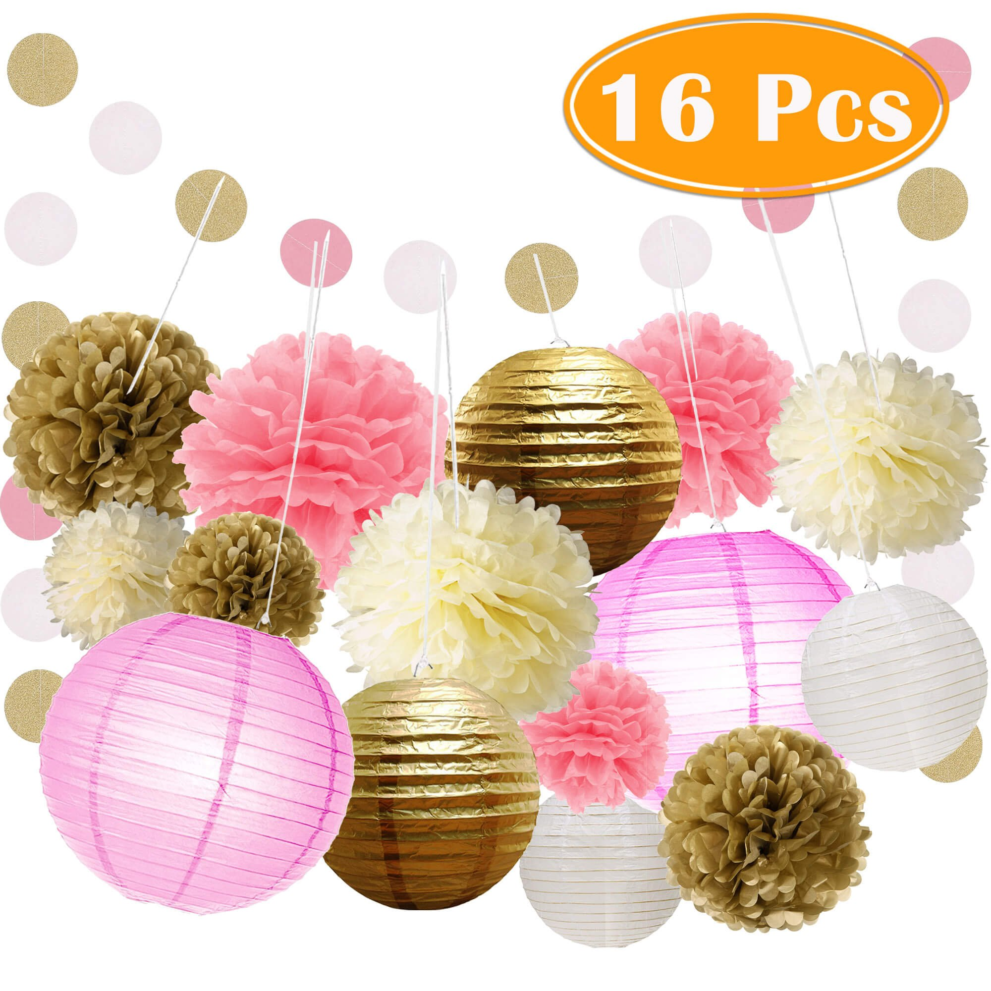 Paxcoo 16 Pcs Pink and Gold Party Supplies with Paper Lanterns and Tissue Pom Poms for 1st Baby Girl Birthday Decorations