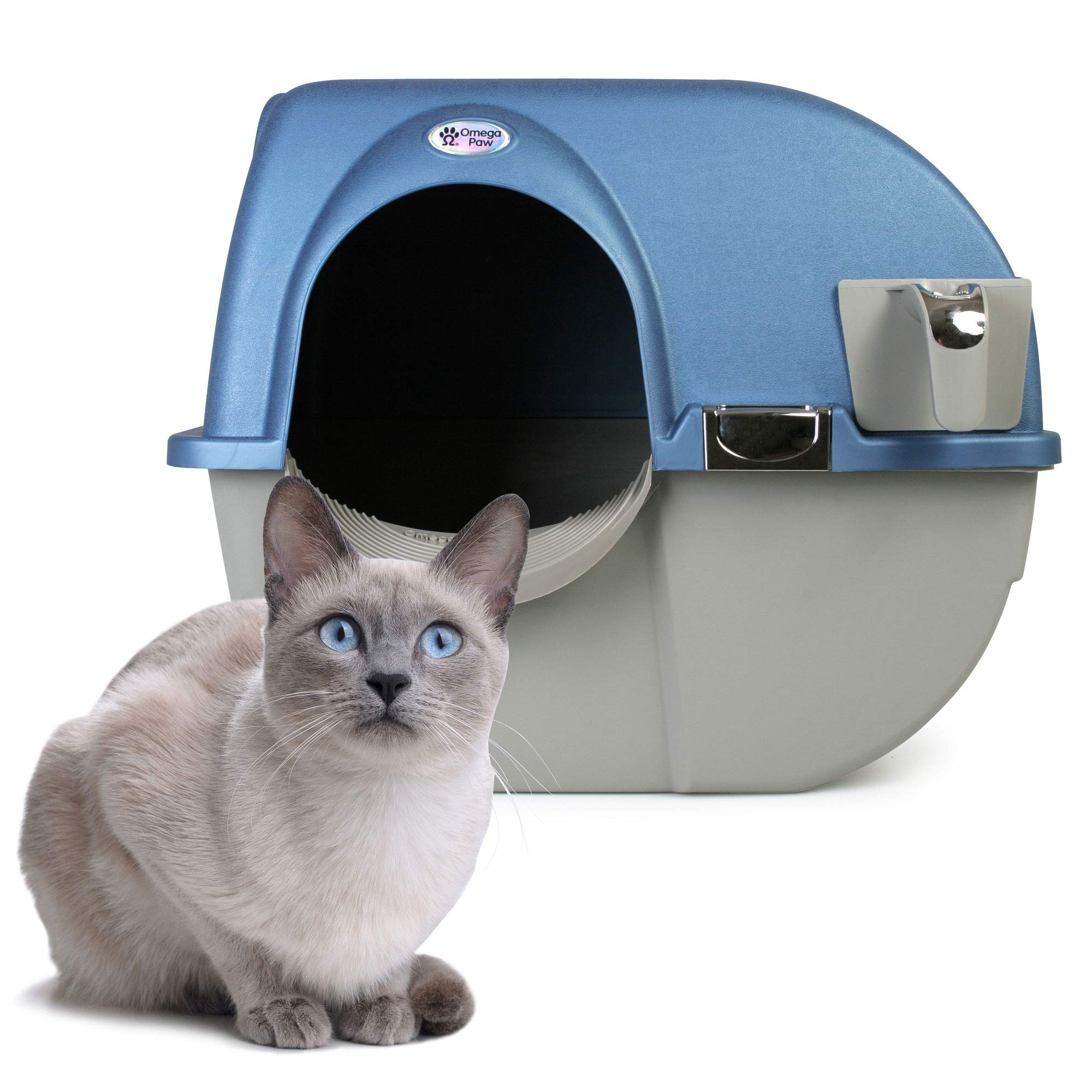 Omega Paw PR-RA15-1 Roll N Clean Self Separating Self Cleaning Litter Box, Blue by Omega Paw