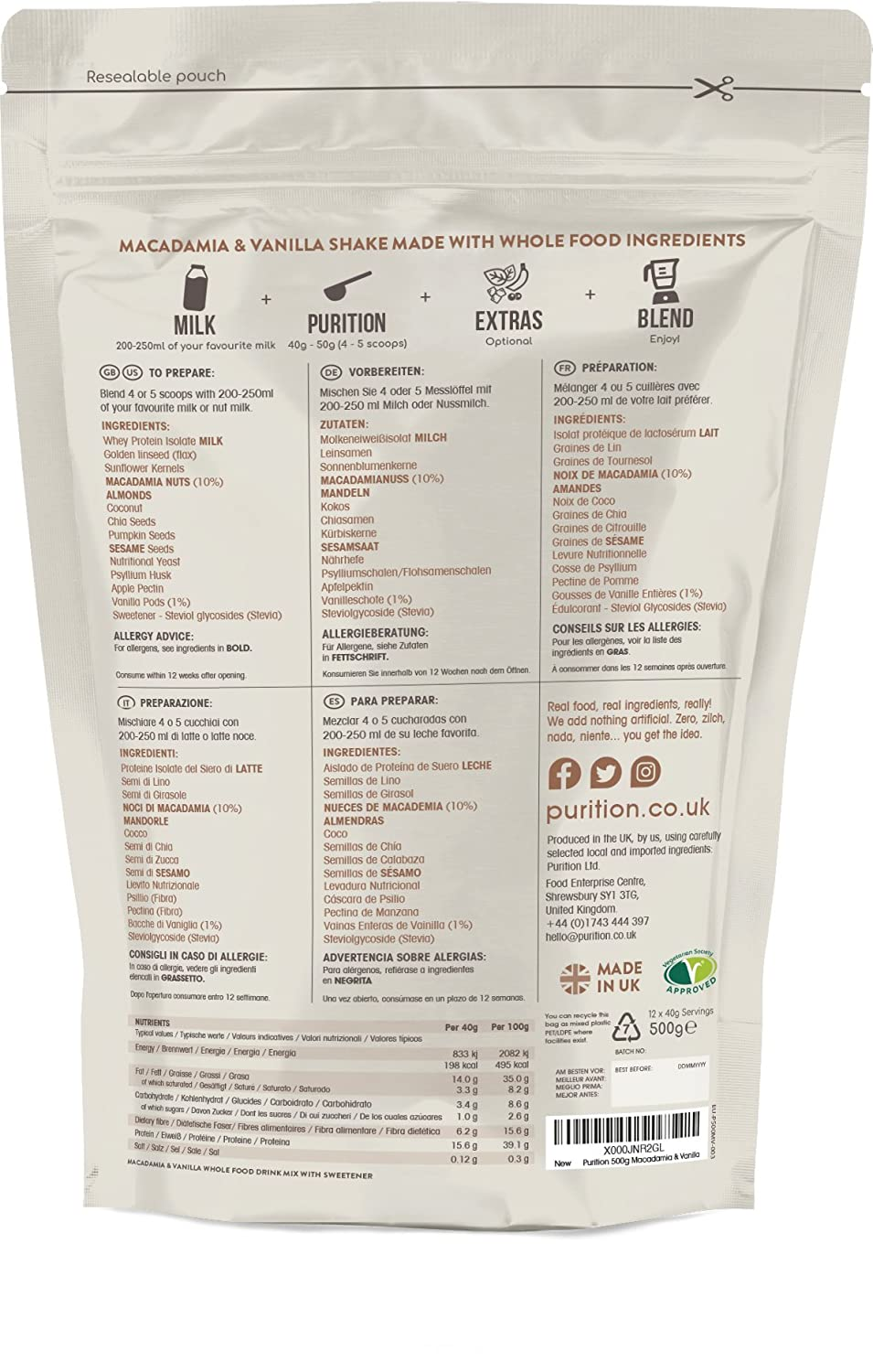 Amazon.com: Wholefood Macadamia & Vanilla Protein Shake (1.1lbs) Ideal for weight loss & post exercise recovery - 100% natural meal replacement - Breakfast ...