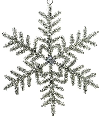 Set Of 3 Snowflake Christmas Ornaments Decorations Silver Iron and Glass  Beaded Handmade Large Hanging Xmas - Amazon.com: Set Of 3 Snowflake Christmas Ornaments Decorations