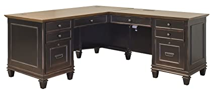 Martin Furniture Hartford L Shaped Desk, Brown