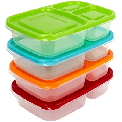 Sunsella Buddy Boxes - 3 Compartment Containers (4 Pack) Reusable Bento Lunch box
