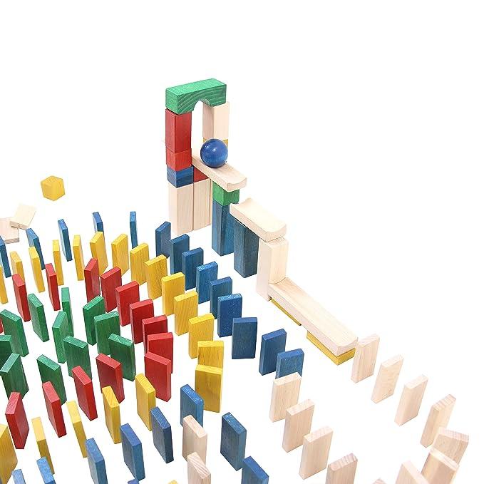 Holzspielzeug Clever 430 Dominosteine Kugelbahn Bausteine Holz Bauklötze Holzklötze Holzbausteine Neu Spielzeug