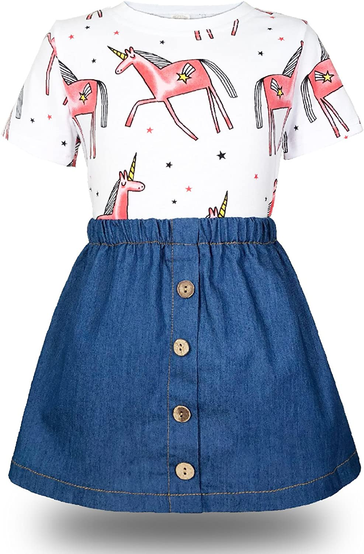 Minilove Girls Unicorn Denim Dress