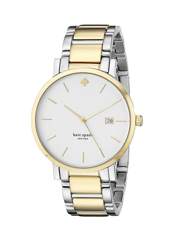 Kate Spade Damen-Armbanduhr Armband Edelstahl Zwei Ton + GehÄuse Quarz Zifferblatt Silber Datum 1YRU0108