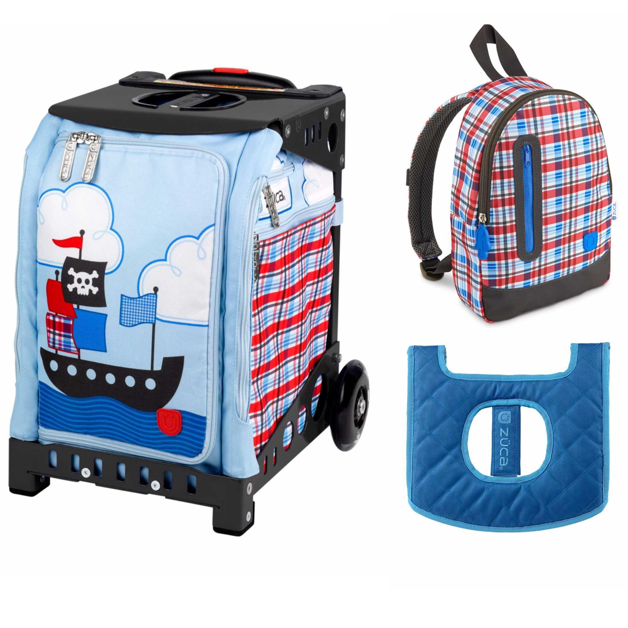 ZUCA Kids039; Mini Pirate Bag/Black Frame + Backpack and Seat Cushion