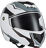 Vega Crux DX Checks Full Face Helmet (White and Silver, Medium)
