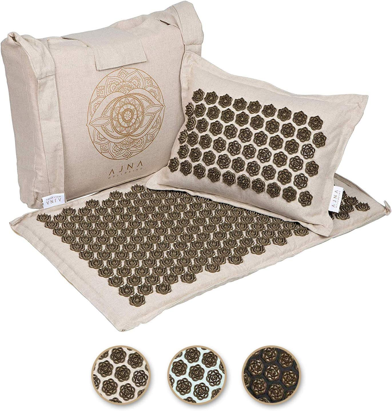 Ajna Acupressure Mat and Pillow Set - Natural Organic Linen Cotton Acupuncture Mat & Bag - Back Pain Relief, Neck Pain Relief, Stress Reliever, Reflexology, Sciatica, Trigger Point Therapy - Eco Luxe: Health & Personal Care
